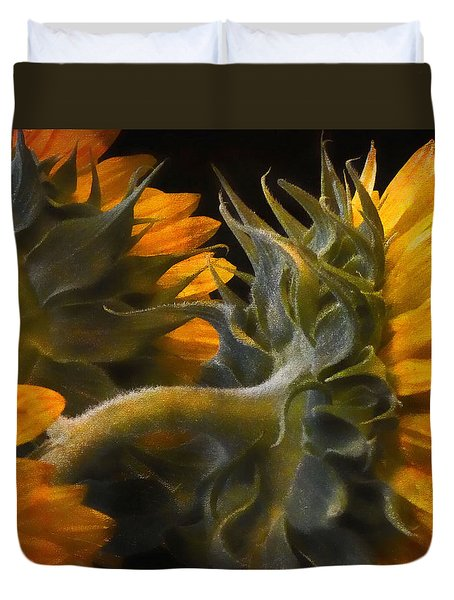 Painted Sun Flowers Duvet Cover by John Rivera