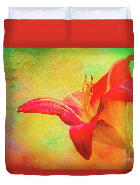 Painted Tammas Daylily Duvet Cover