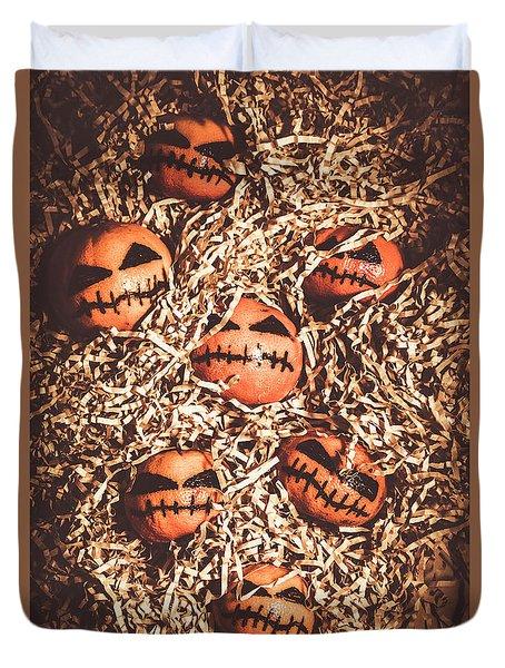 painted tangerines for Halloween Duvet Cover