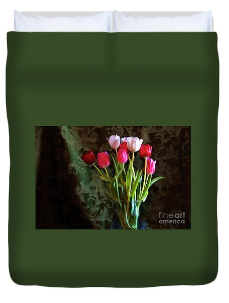 Duvet Cover featuring the photograph Painted Tulips by Joan Bertucci