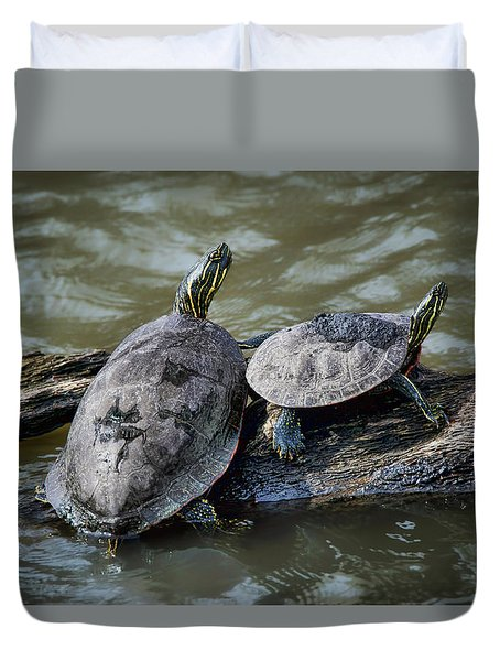 Duvet Cover featuring the photograph Painted Turtle Pair by Nikolyn McDonald