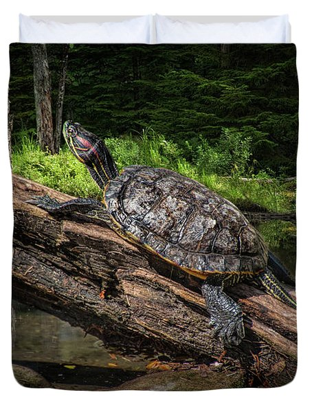 Painted Turtle Sitting On A Log Duvet Cover