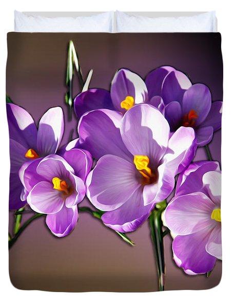 Duvet Cover featuring the photograph Painted Violets by John Haldane