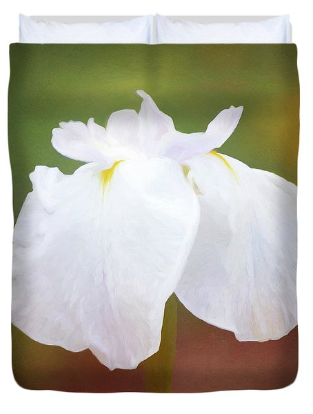 Painted White Iris In Late Afternoon Light Duvet Cover