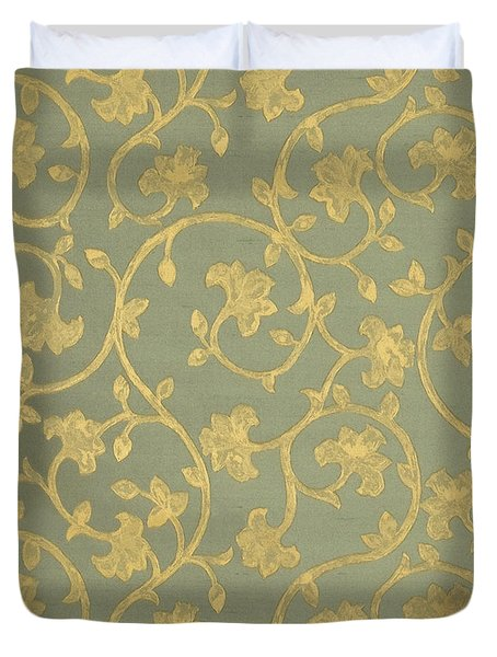 Painterly Chenin Gold Damask On Sage Linen Duvet Cover