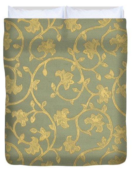 Painterly Chenin Gold Damask On Sage Linen Duvet Cover
