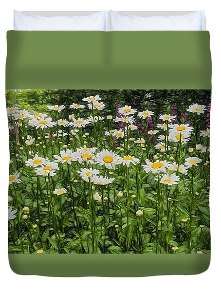 Duvet Cover featuring the photograph Painterly Daisy Patch by Gary Slawsky