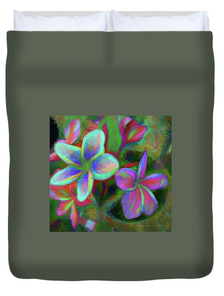 Painterly Frangipanis Duvet Cover