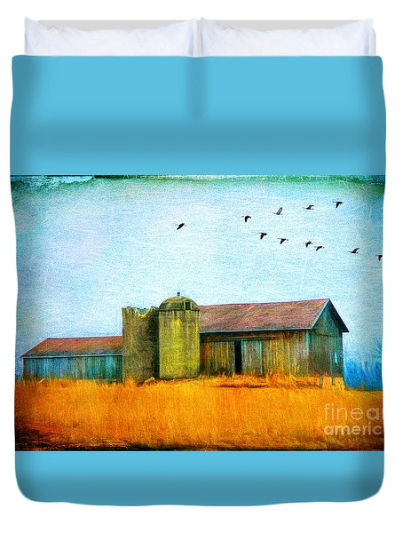 Painterly Neon Colored Rural Barn Duvet Cover