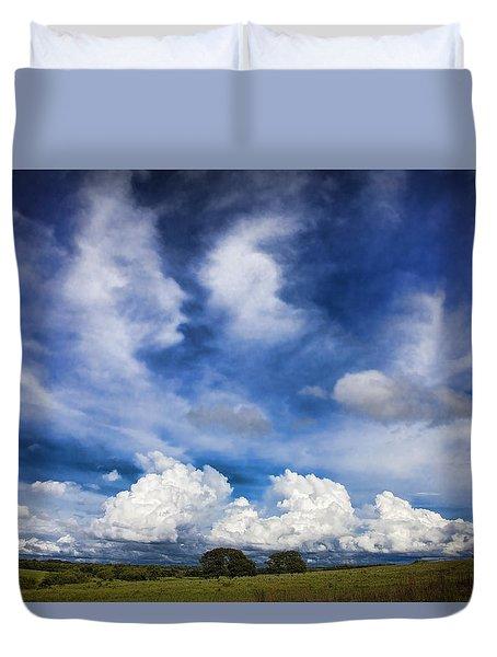 Painterly Sky Over Oklahoma Duvet Cover by Toni Hopper