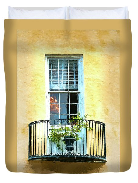 Painterly Window And Balcony Duvet Cover by Gary Slawsky