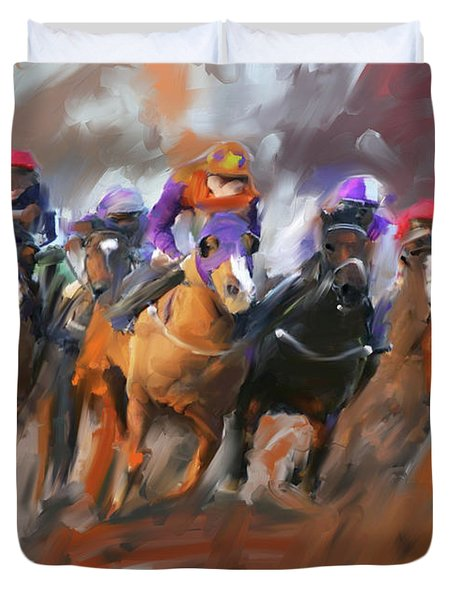 Painting 748 3 Horse Race 15 Duvet Cover