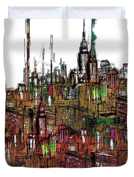 Painting 775 2 New York Skyline Duvet Cover