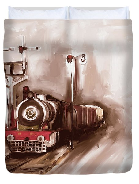 Painting 801 3 Steam Engine Duvet Cover