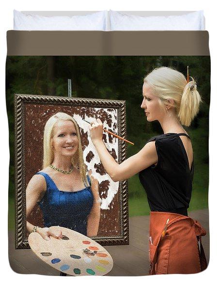 Painting A Self Portrait Duvet Cover