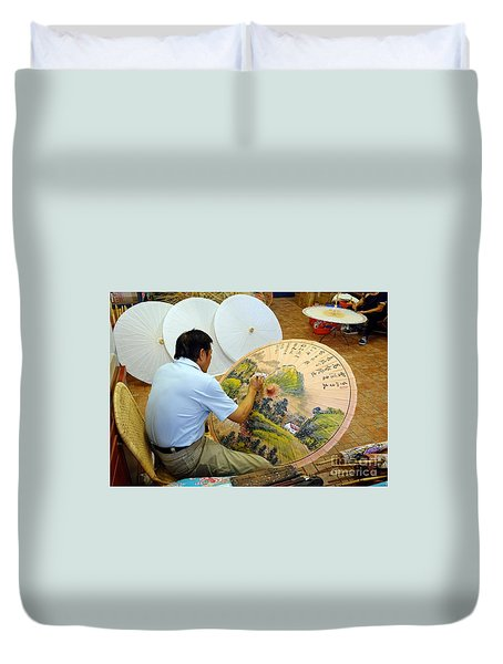 Duvet Cover featuring the photograph Painting Chinese Oil-paper Umbrellas by Yali Shi