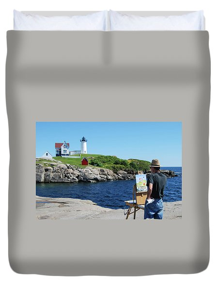 Painting Nubble Lighthouse Duvet Cover