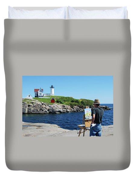 Painting Nubble Lighthouse Duvet Cover