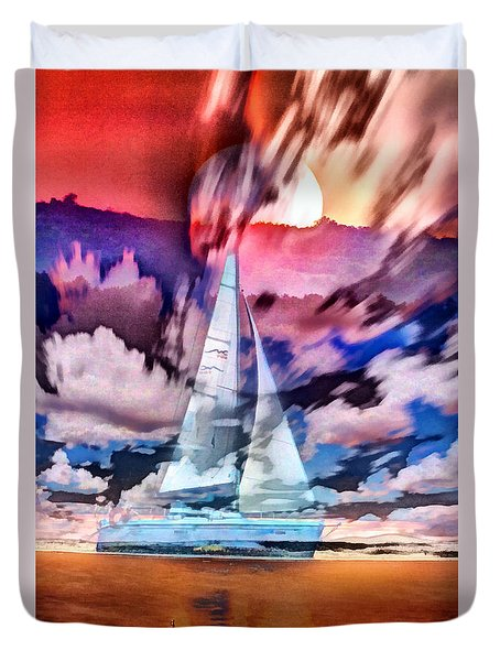 Painting Of Boats In Red Sunset Colors Duvet Cover