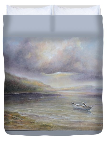 Beach By Sruce Run Lake In New Jersey At Sunrise With A Boat Duvet Cover