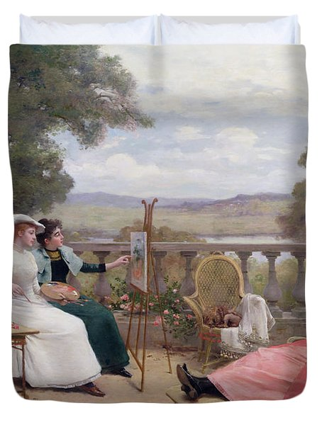 Painting On The Terrace Duvet Cover by Jules Frederic Ballavoine