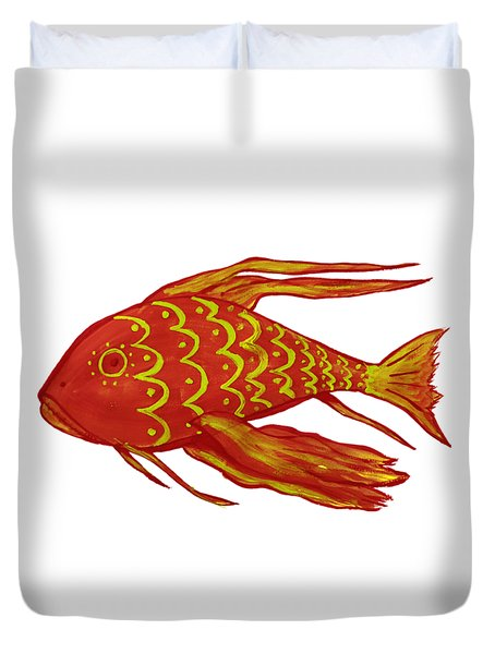 Painting Red Fish Duvet Cover