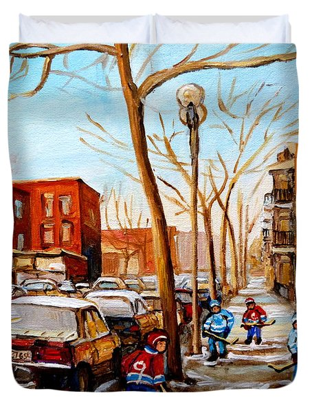 Paintings Of Verdun Streets In Winter Hockey Game Near Row Houses Montreal City Scenes Duvet Cover by Carole Spandau