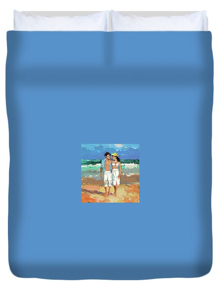 Pair By The Sea Duvet Cover
