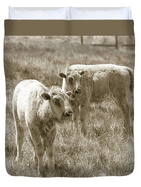 Duvet Cover featuring the photograph Pair Of Baby Buffalos by Rebecca Margraf