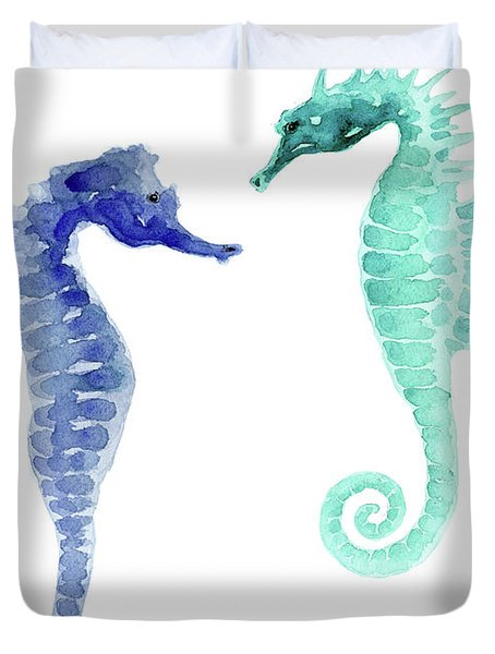 Pair Of Blue And Sea Green Seahorses Watercolor Duvet Cover
