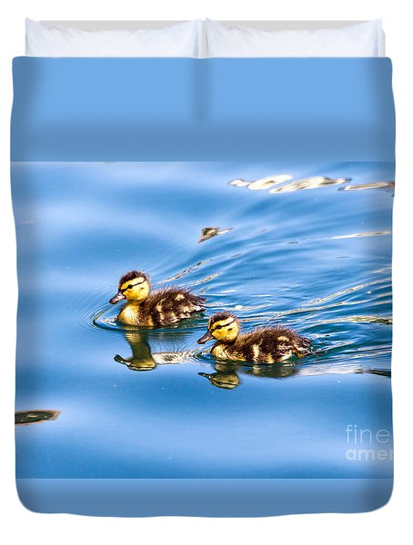 Duvet Cover featuring the photograph Duckling Duo by Kate Brown