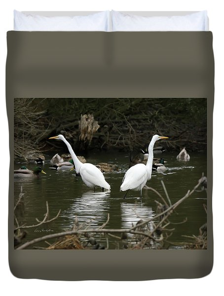 Duvet Cover featuring the photograph Pair Of Egrets by George Randy Bass