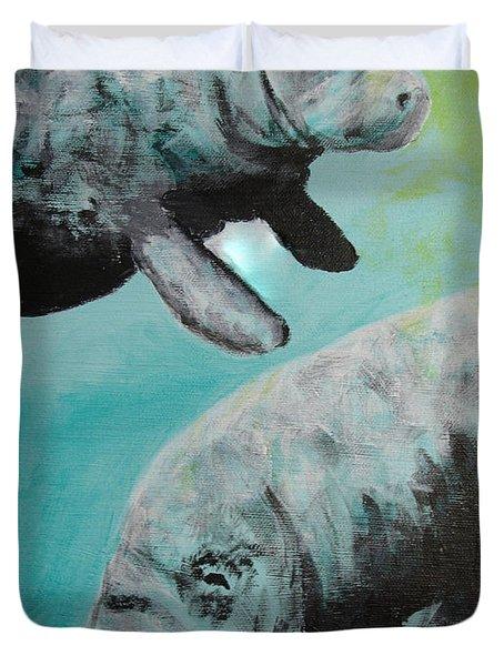 Pair Of Florida Manatees Duvet Cover by Susan Kubes