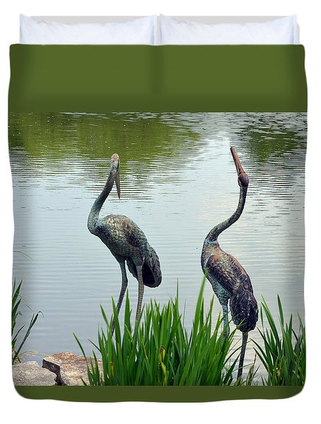 Duvet Cover featuring the photograph Pair Of Garden Herons by Kathleen Stephens