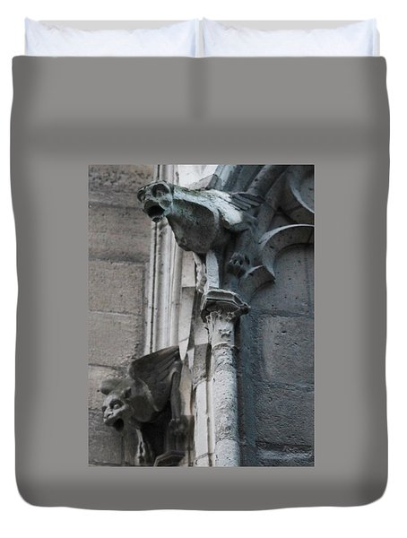 Duvet Cover featuring the photograph Pair Of Griffons Of Notre Dame by Christopher Kirby