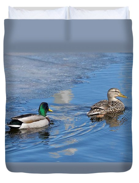 Duvet Cover featuring the photograph Pair Of Mallard Ducks Inthunder Bay by Michael Peychich