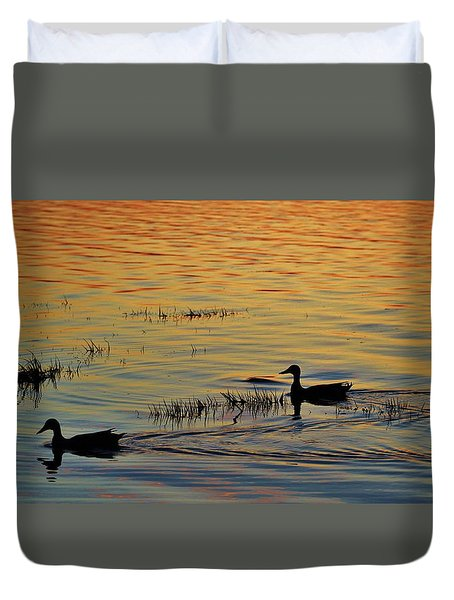 Pair Of Paddlers Duvet Cover by William Bartholomew