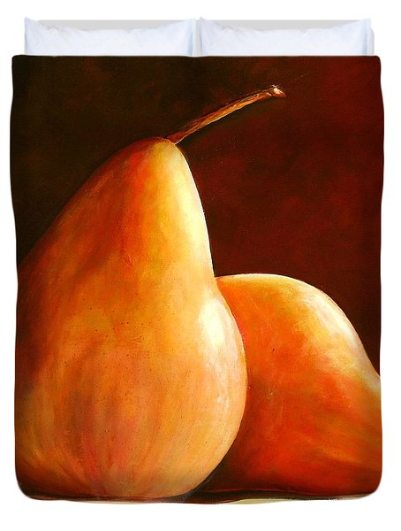 Pair Of Pears Duvet Cover by Toni Grote