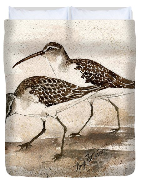 Pair Of Sandpipers Duvet Cover