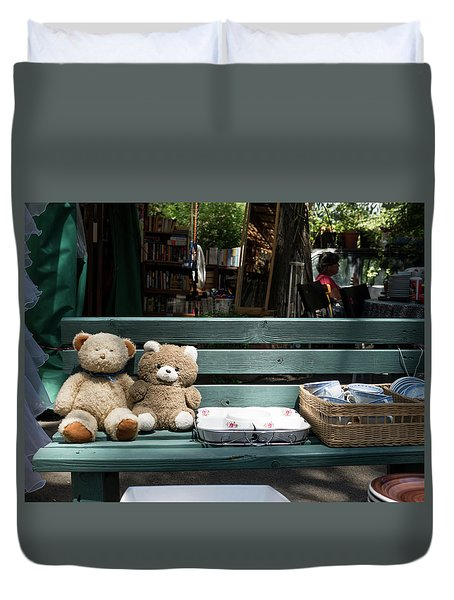 Teddy Bear Lovers On The Banch Duvet Cover