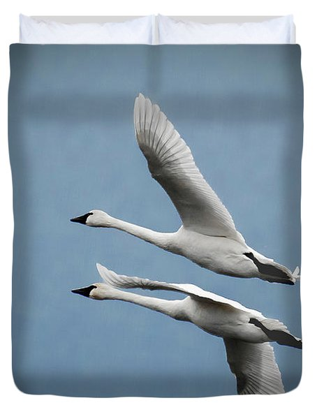 Pair Of Tundra Swan Duvet Cover