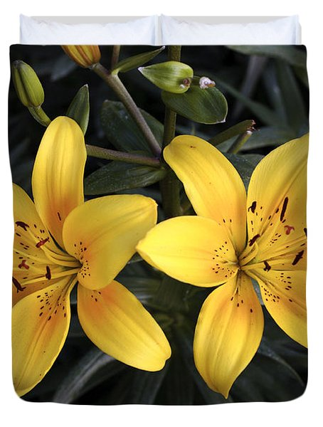 Pair Of Yellow Lilies Duvet Cover