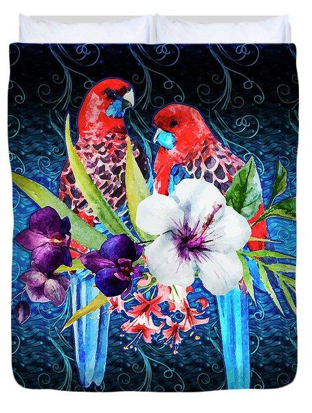 Paired Parrots Duvet Cover