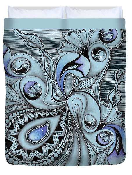 Duvet Cover featuring the drawing Paisley Power by Jan Steinle