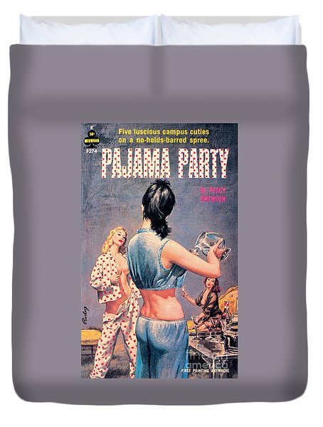 Duvet Cover featuring the painting Pajama Party by Paul Rader