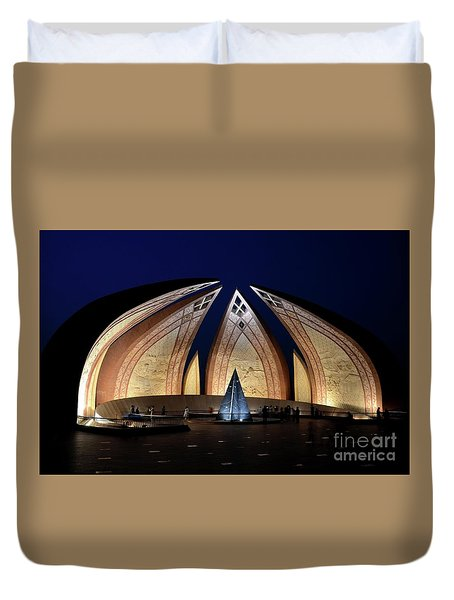 Pakistan Monument Illuminated At Night Islamabad Pakistan Duvet Cover
