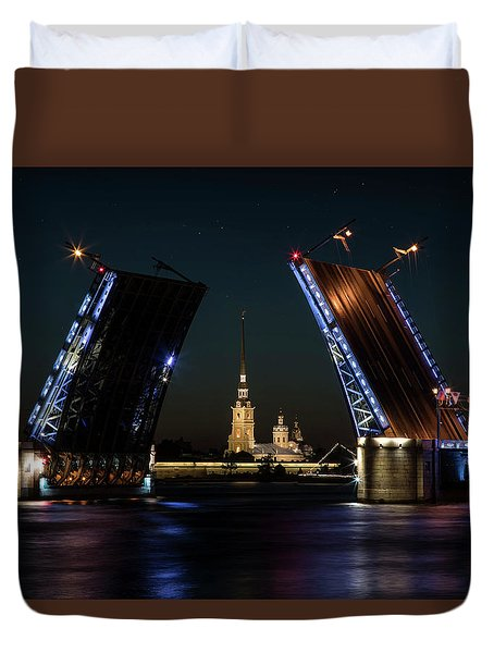 Palace Bridge At Night Duvet Cover