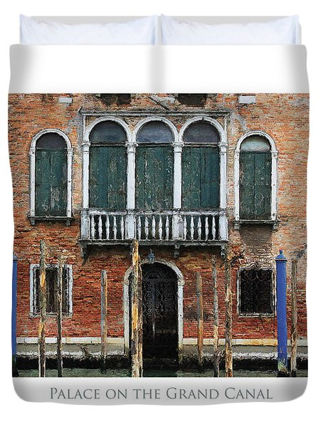 Duvet Cover featuring the digital art Palace On The Grand Canal by Julian Perry