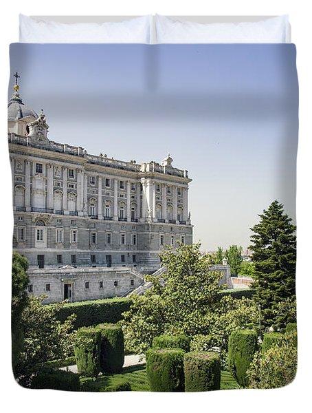 Palacio Real De Madrid And Plaze De Oriente Duvet Cover