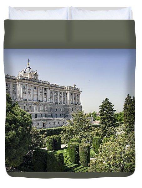 Palacio Real De Madrid And Plaze De Oriente Duvet Cover by Ross G Strachan